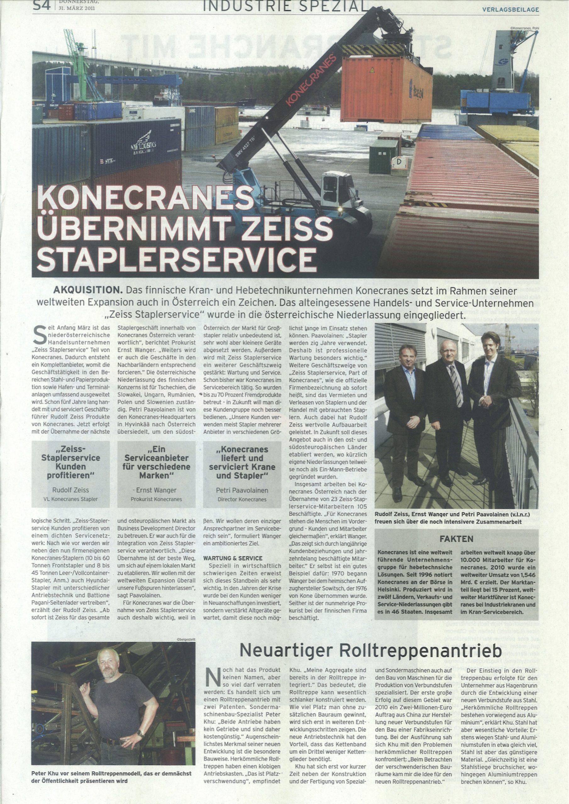 Presseldung über neuartigen Rolltreppenantrieb von KHU Sondermaschinen