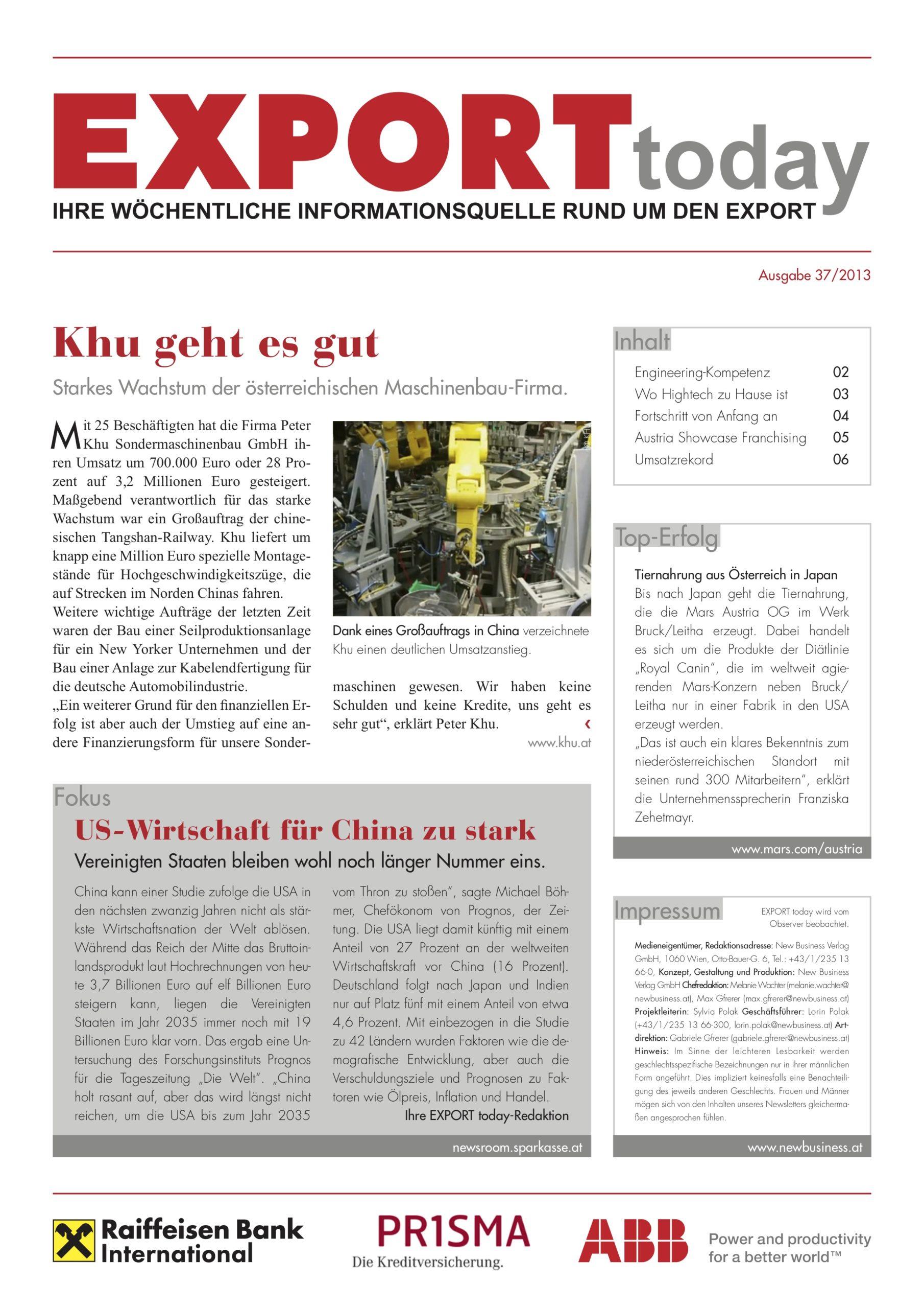 Export Today Pressemeldung über KHU China Exporte