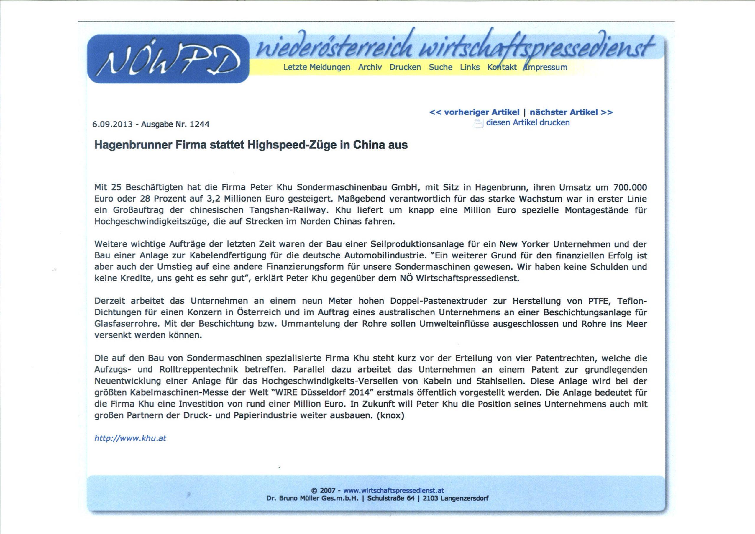 NoePD Pressemeldung über KHU Aufachsstand für chinesische Bahn