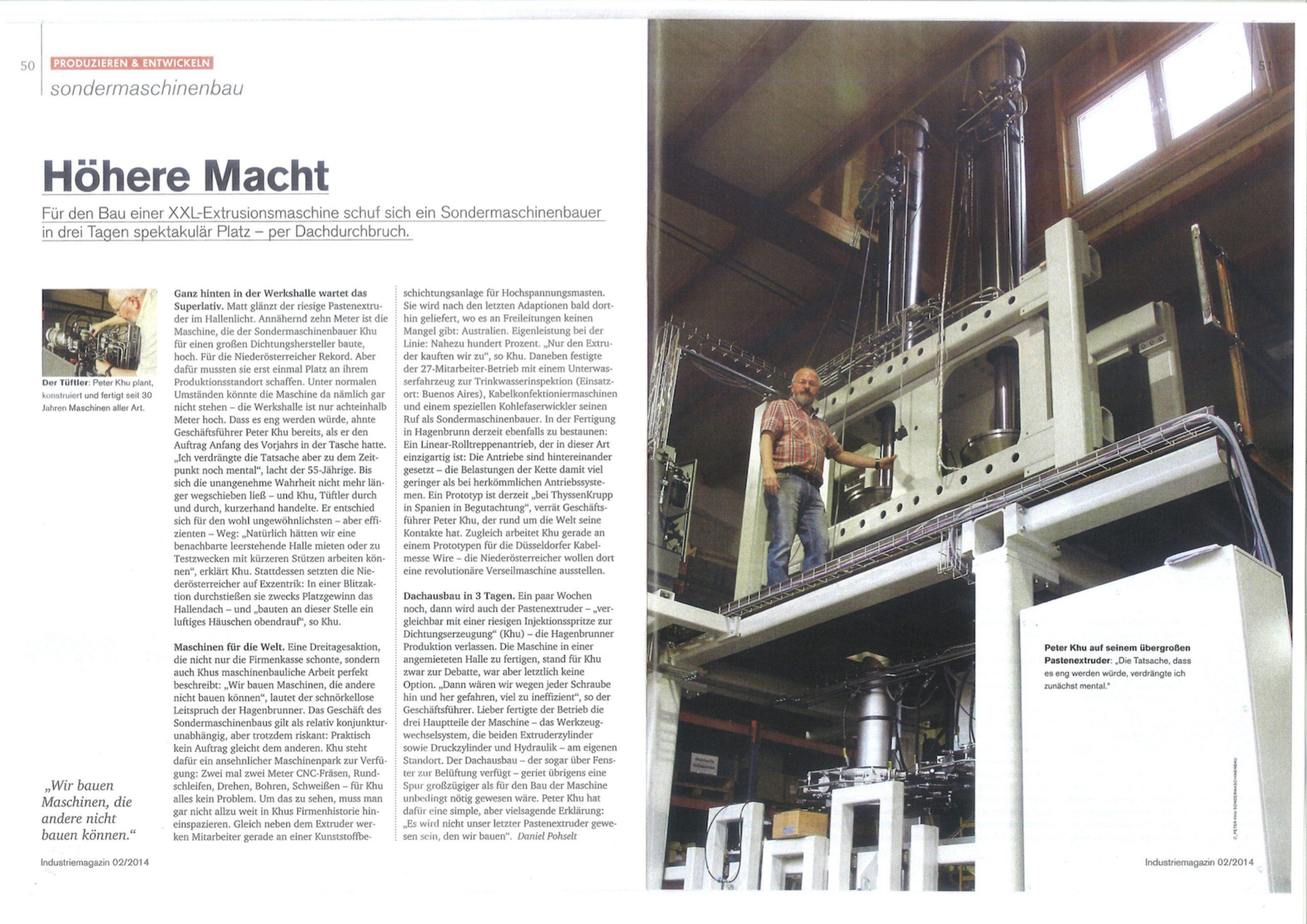 IndustrieMagazin Pressemeldung über KHU Pastenextruder