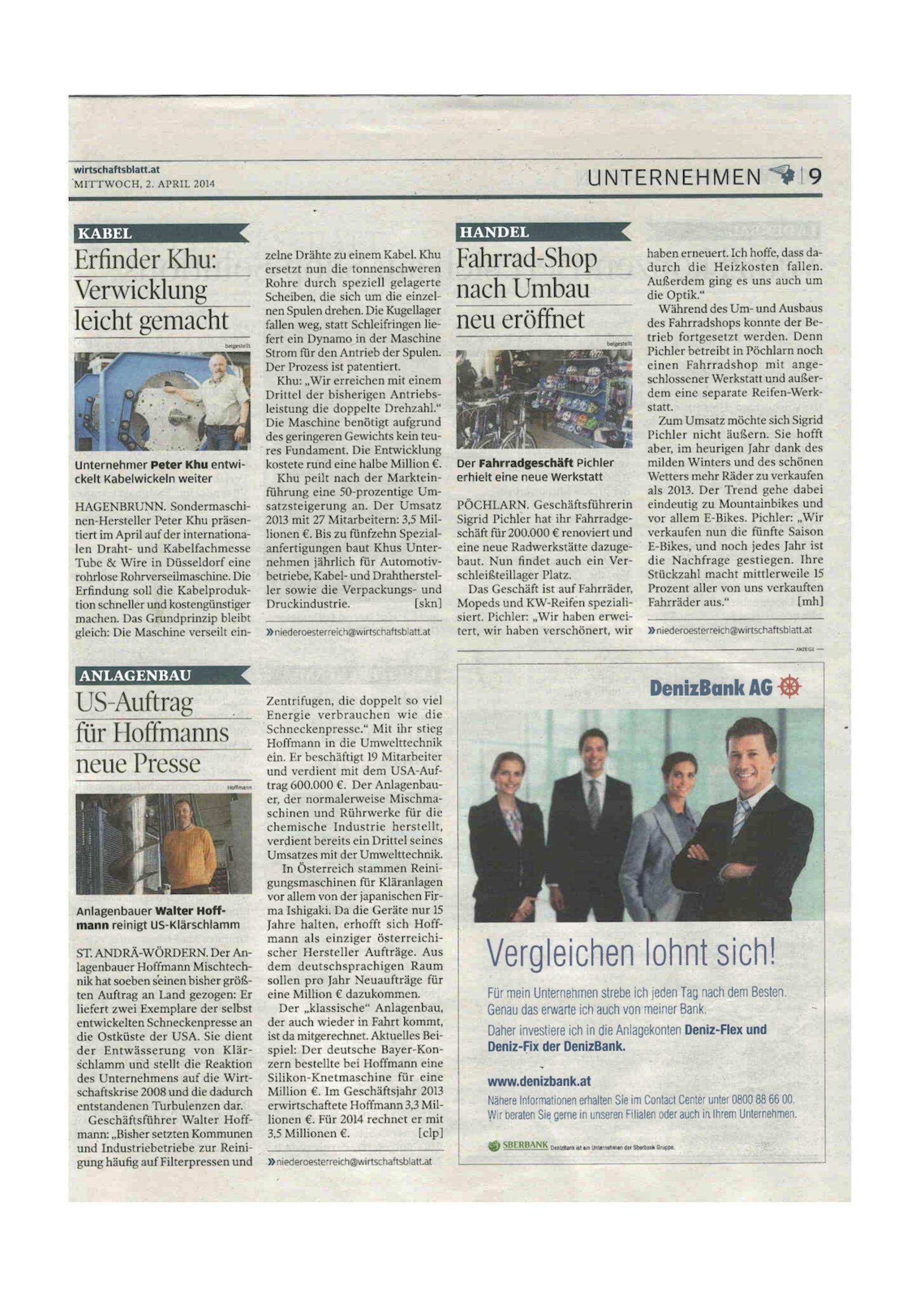 Wirtschaftsblatt Pressemeldung über KHU QSVM Schnellverseilmaschine