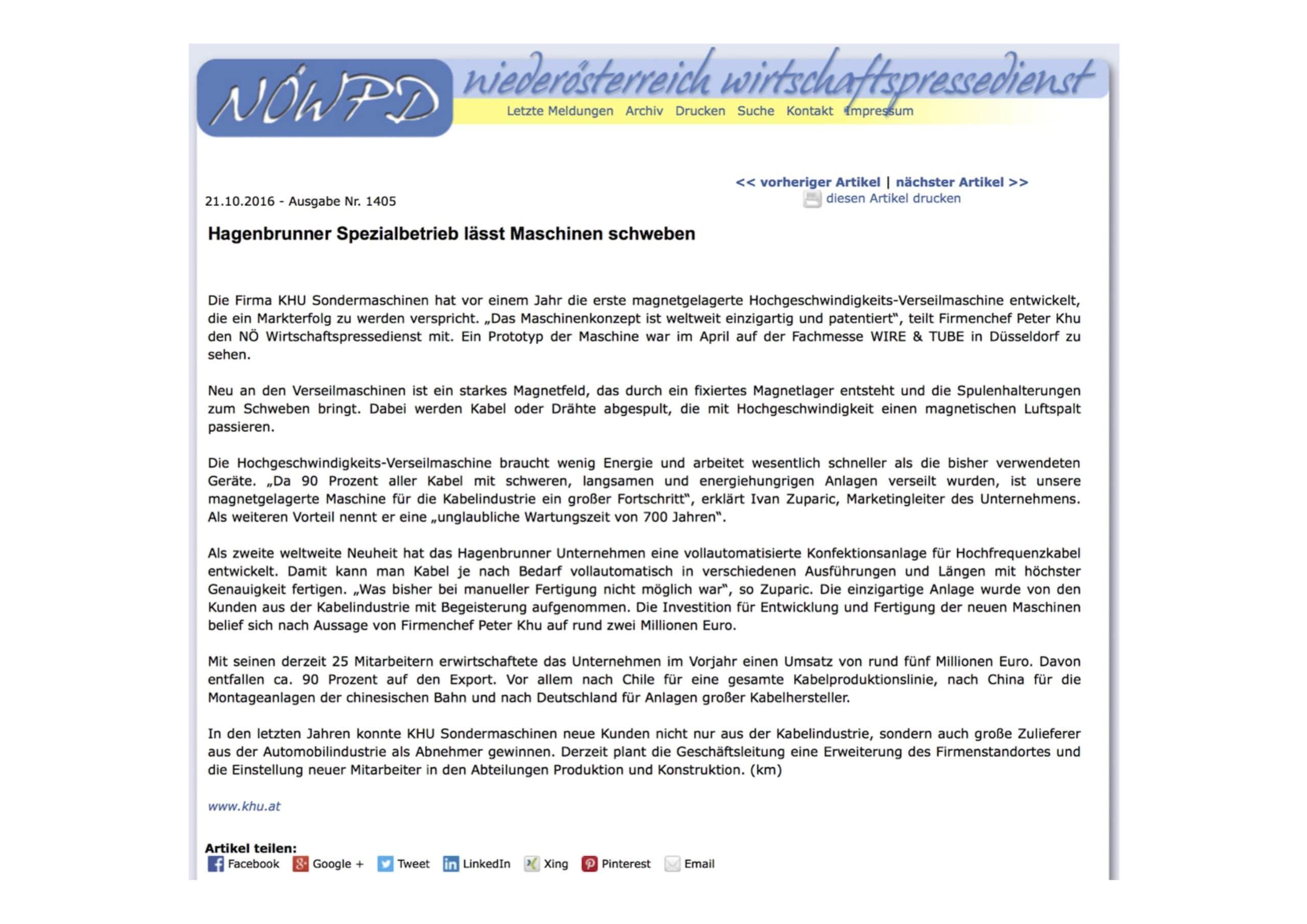 NoeWPD Pressemeldung über KHU QSVM Magnetverseilmaschine