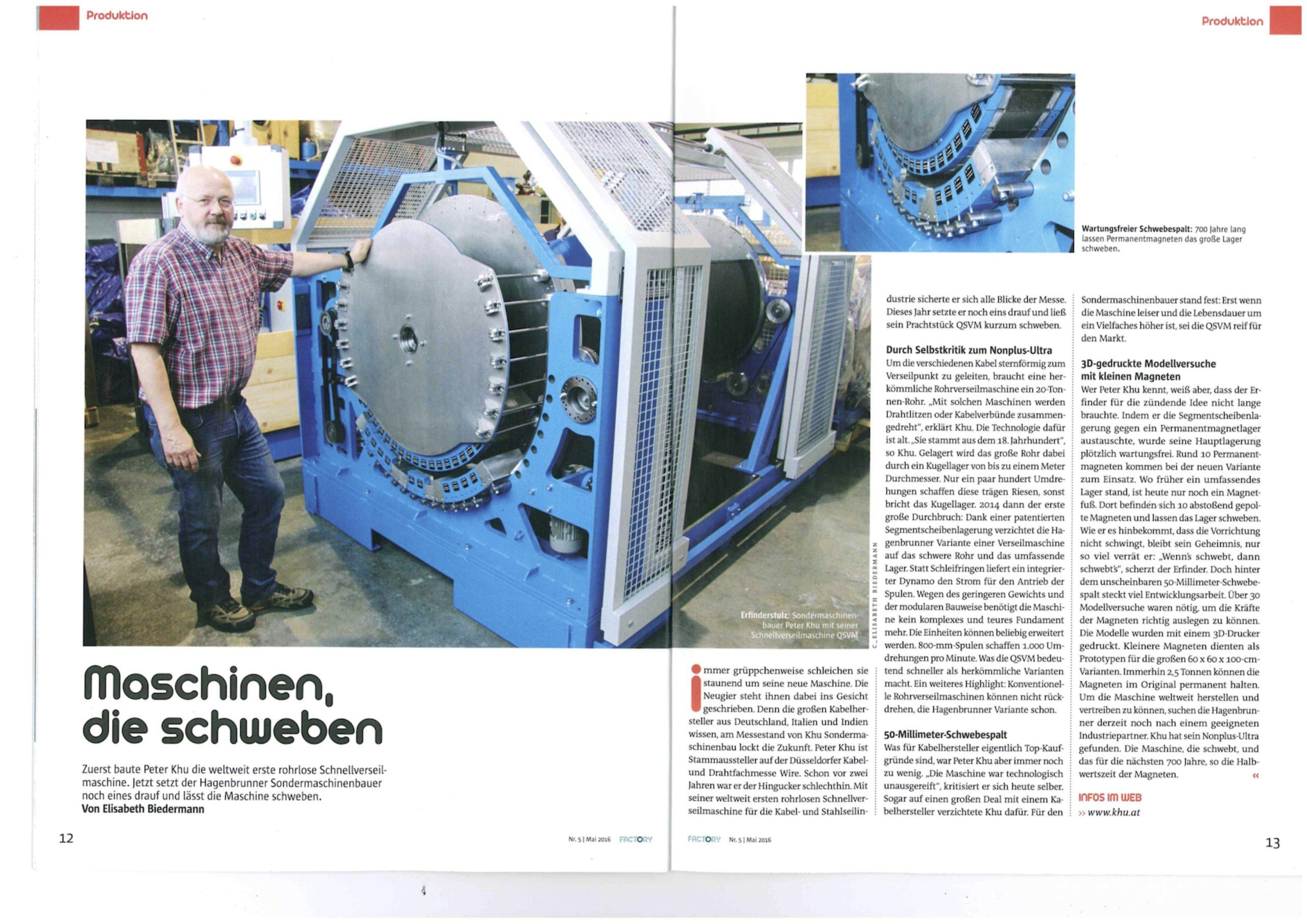 Factory Pressemeldung über KHU QSVM mit Magnetlagerung