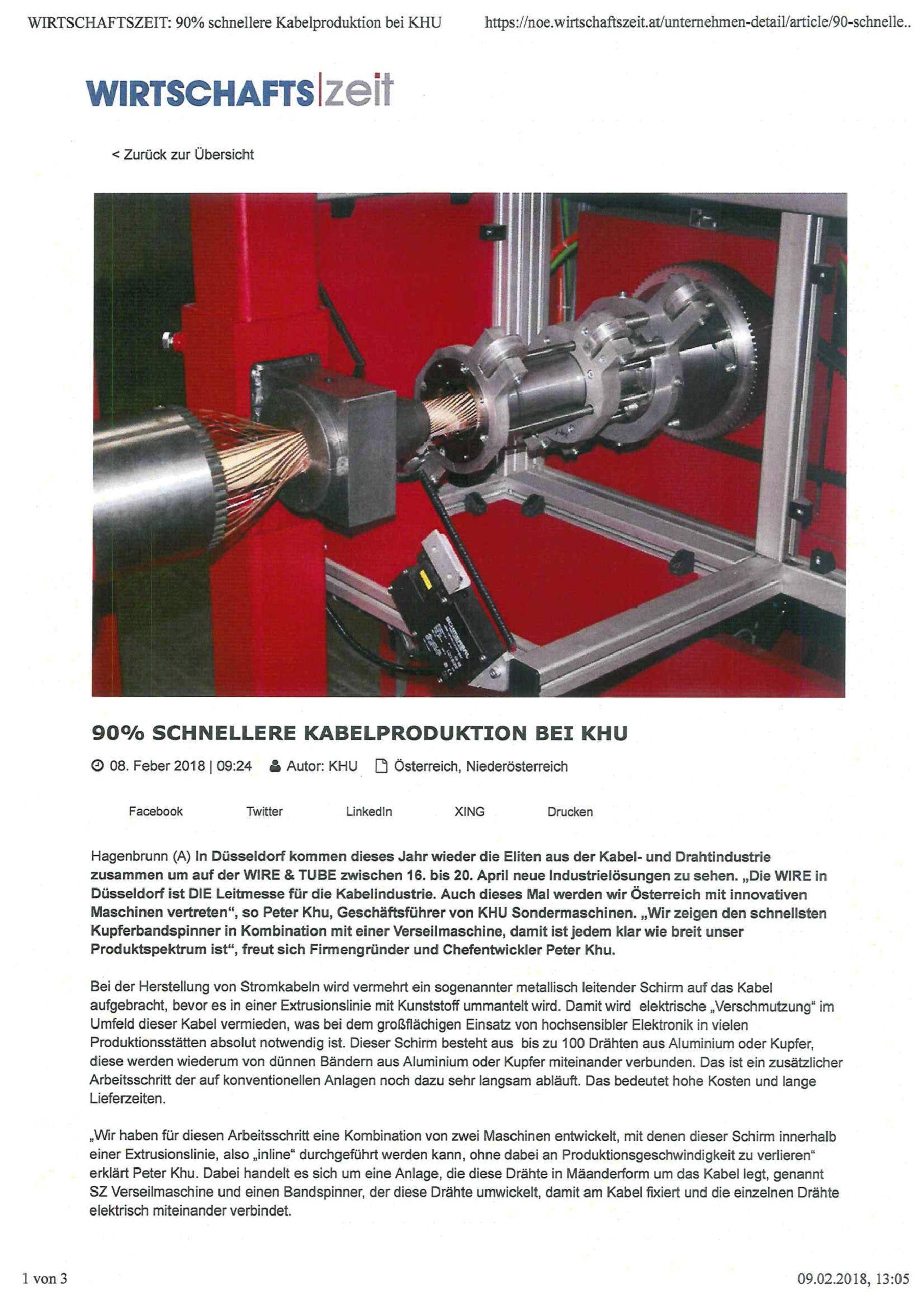 Wirtschaftszeit Pressemeldung über neuen Kupferbandwickler von KHU Sondermaschinen