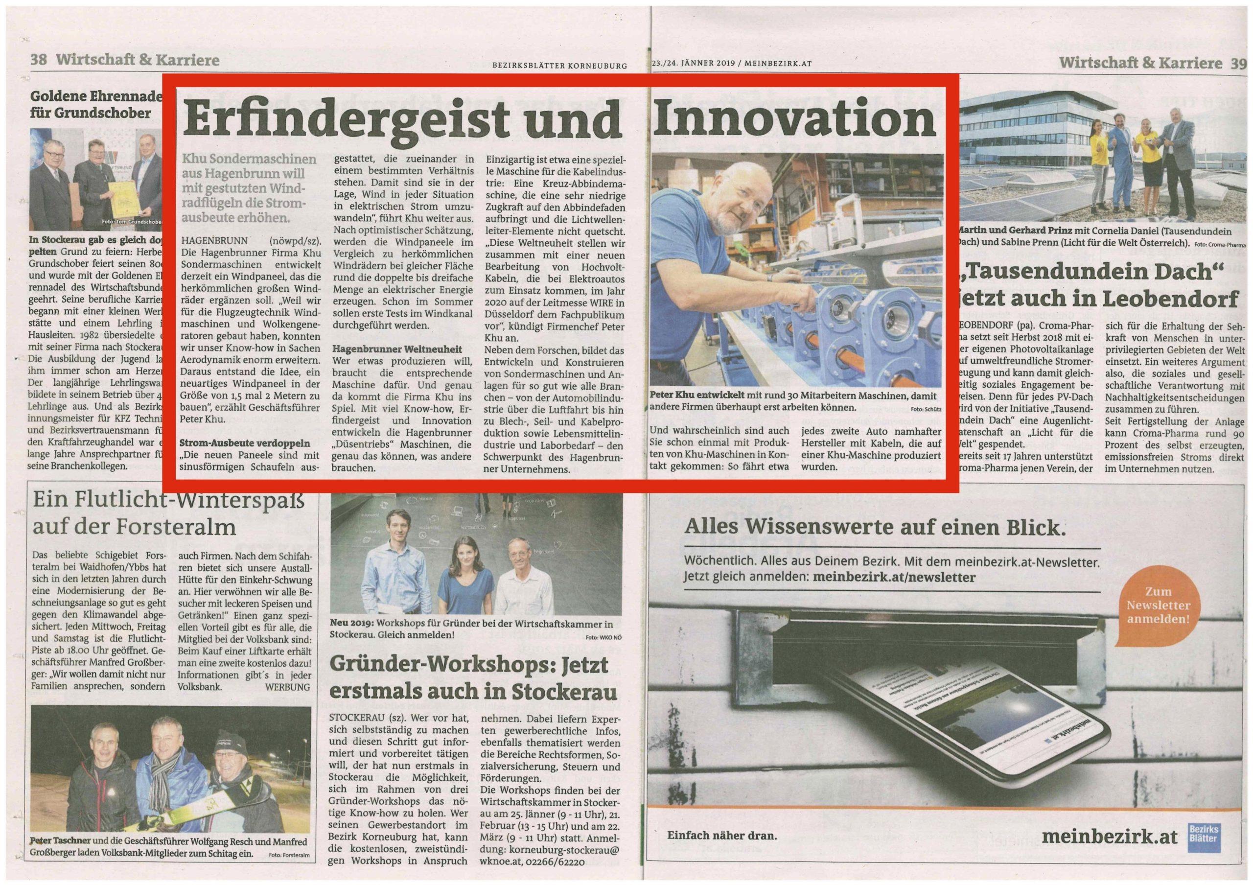 Bezirksblatt Pressemeldung über KHU SZ Technologie