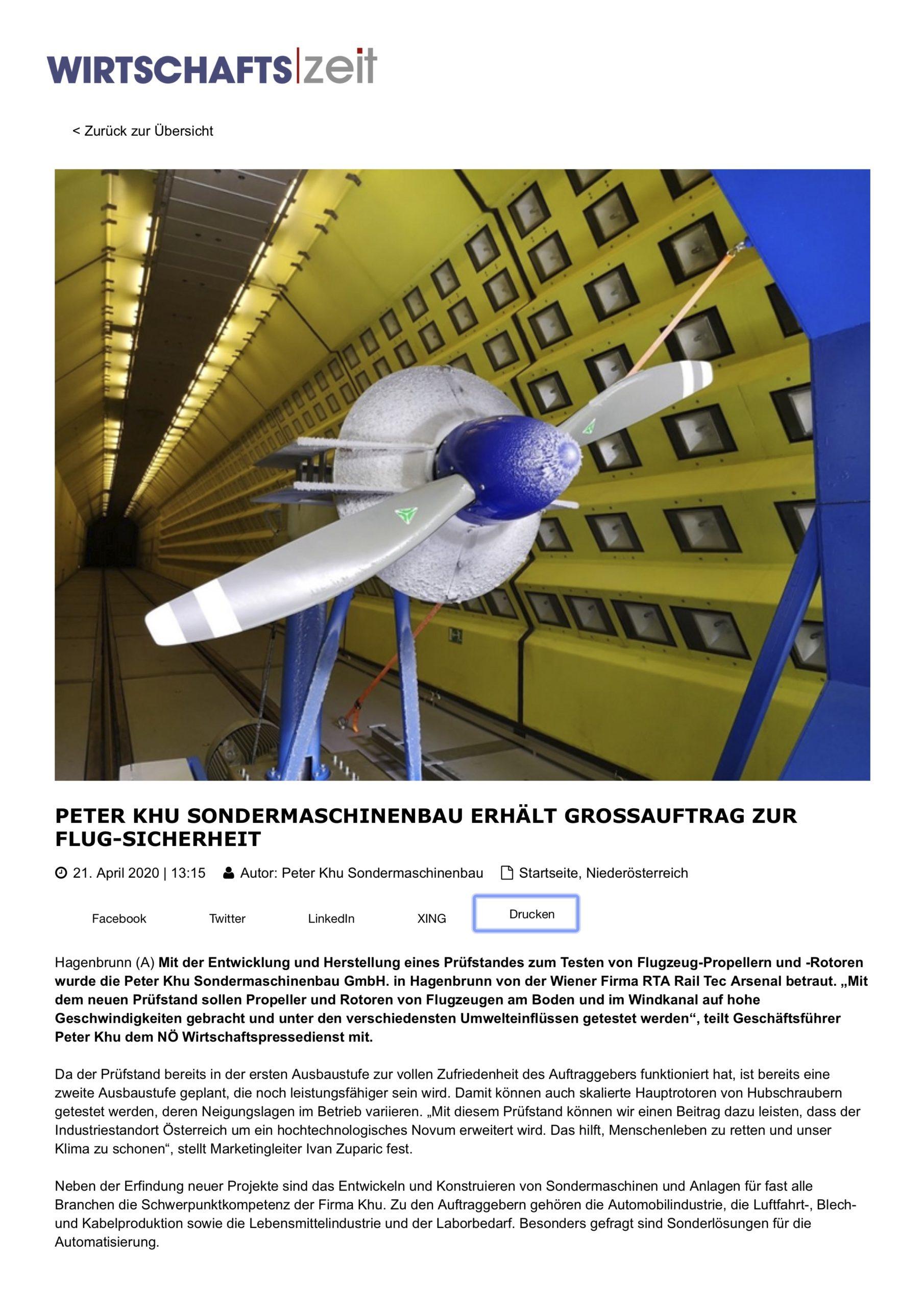 Wirtschaftszeit Pressemeldung KHU Propeller Prüfstand zur Flug-Sicherheit
